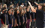 Members of the Roy Gomm Elementary School Choir sing the national anthem before Friday night's Bighorns minor league basketball game, Feb. 11, 2011, against the Fort Wayne Mad Ants at the Reno Events Center in Reno, Nev. .Photo by Cathleen Allison