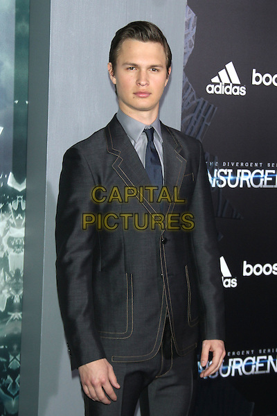 NEW YORK, NY - MARCH 16: Ansel Elgort at the New York premiere of The Divergent Series: Insurgent at the Ziegfeld Theatre in New York City on March 16, 2015. <br /> CAP/MPI/RW<br /> &copy;RW/MPI/Capital Pictures