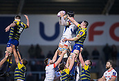 9th December 2017, AJ Bell Stadium, Salford, England; European Rugby Challenge Cup, Sale Sharks versus Cardiff Blues; Sale Sharks' Andrei Ostrikov wins a line out
