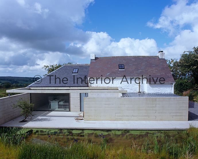 Rear view of Bryncyn showing the purpose-built poured concrete Japanese-style terrace