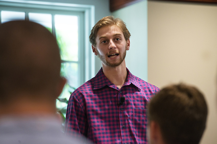 Keegan Wise, a senior in Ohio University's College of Business, speaks with incoming freshmen at Nelson Commons for the Freshmen Convocation on August 20, 2016.