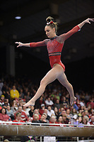 Arkansas' Kennedy Hambrick competes Friday, Feb. 7, 2020, in the beam portion of the Razorbacks' meet with Georgia in Barnhill Arena in Fayetteville. Visit  nwaonline.com/gymbacks/ for a gallery from the meet.<br /> (NWA Democrat-Gazette/Andy Shupe)