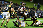 Kirisi Kuridrani takes on the Taranaki defenders near the tryline. Mitre 10 Cup rugby game between Counties Manukau Steelers and Taranaki Bulls, played at Navigation Homes Stadium, Pukekohe on Saturday August 10th 2019. Taranaki won the game 34 - 29 after leading 29 - 19 at halftime.<br /> Photo by Richard Spranger.