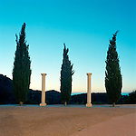 Fir trees and Roman columns in the sunrise