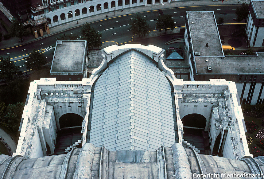 "Sir Christopher Wren: St. Paul's Cathedral--looking dow from dome, showing aisle roofs, buttresses, and ""false front"". Photo '90."