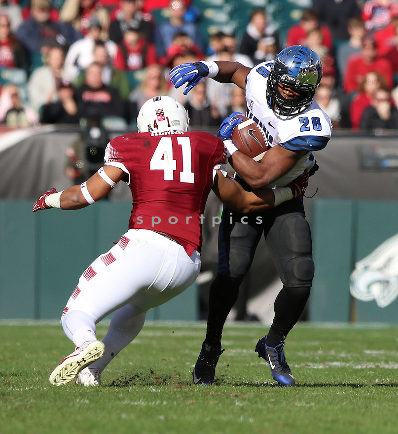 Memphis Tigers Doroland Dorceus (28) during a game against the Temple Owls on November 21, 2015 at Lincoln Financial Field in Philadelphia, PA. Temple beat Memphis 31-12.