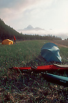 Alaska, Sea Kayak campsite, Kenai Fjords National Park, U.S.A. Feathercraft breakdown aluminum and fabric kayaks.