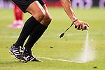 Referee using the Spray during the XXXVII Santiago Bernabeu Trophy in Madrid. August 16, Spain. 2016. (ALTERPHOTOS/BorjaB.Hojas)