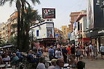 Crowded shopping streets and bars Benidorm, Alicante province, Spain
