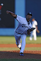 Asheville Tourists starting pitcher Vianney Mayo #27 delivers a pitch during a game between the Delmarva Shorebirds and the Asheville Tourists at McCormick Field, Asheville, North Carolina April 6, 2012. The Shorebirds won the game 7-2  (Tony Farlow/Four Seam Images)..