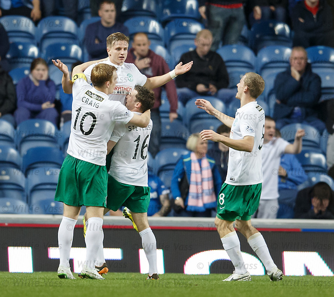 Jason Cummings celebrates his second and Hibs' third goal