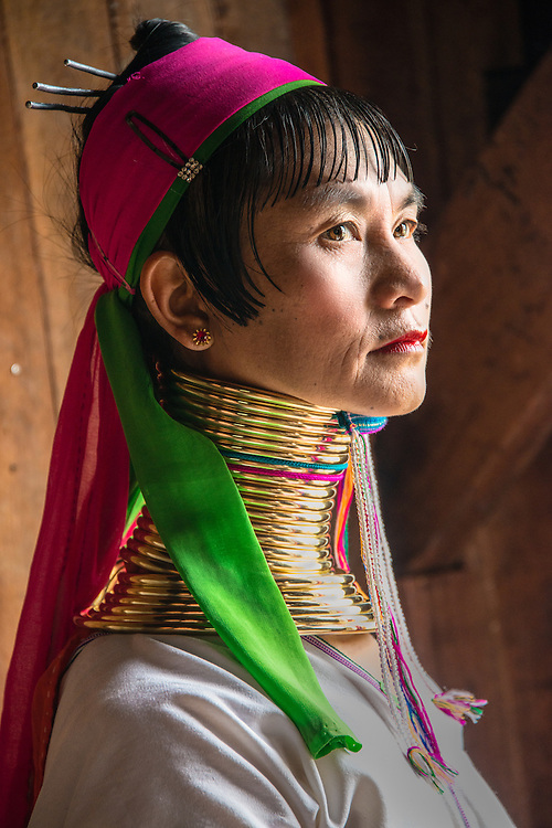A Padaung woman with brass rings around her neck in Inle Lake at Nyaungshwe township in Shan State, Myanmar, Nov. 15, 2013. Inle Lake is the second largest lake in Myanmar where Intha People live.