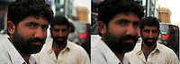 Study in selective focus on Dubai carpet merchants.