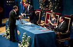 King of Spain presents principe de asturias award to Alvaro Corma in the Campoamor theater in Oviedo. 2014/10/24. Samuel de Roman / Photocall3000.