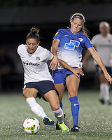 Allston, Massachusetts - August 8, 2015: In a National Women's Soccer League (NWSL) match, Boston Breakers (blue) defeated Washington Spirit (white/black), 2-1, at Soldiers Field Soccer Stadium.