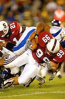 Matt Leonard makes an interception during Stanford's 63-26 win over San Jose State on September 14, 2002 at Stanford Stadium.<br />Photo credit mandatory: Gonzalesphoto.com