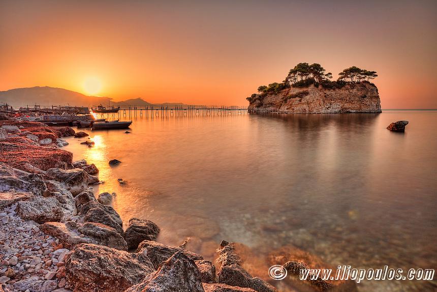 The sunrise at Agios Sostis Island  (Cameo) in Zakynthos, Greece
