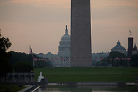 The National Mall in Washington D.C. showing the United States Capitol and Washington Monument early in the morning as the Nations Capital prepares for Independence Day celebrations on July 4, 2019.<br /> CAP/MPI/CNP<br /> ©CNP/MPI/Capital Pictures