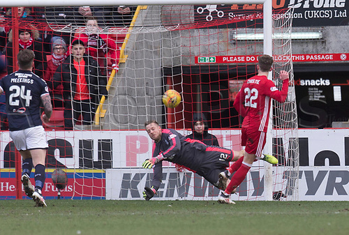 17th March 2018, Pittodrie Stadium, Aberdeen, Scotland; Scottish Premier League football, Aberdeen versus Dundee; Dundee goalkeeper Elliott Parish denies Ryan Christie of Aberdeen with a great save from close range