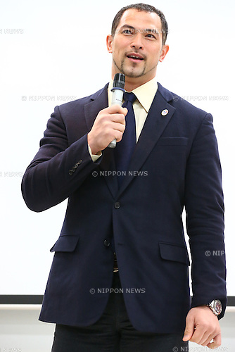 Koji Murofushi,<br /> JANUARY 9, 2015 - Athletic : <br /> Certification ceremony of Diamond athletes is held at Ajinomoto National Training Center, Tokyo, Japan.<br /> Diamond athletes is players who would play an active part in Tokyo Olympic 2020.<br /> (Photo by Shingo Ito/AFLO SPORT) [1195]