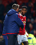 Louis Van Gaal, manager of Manchester United thanks Timothy Fosu-Mensah - Barclay's Premier League - Manchester United vs Watford - Old Trafford - Manchester - 02/03/2016 Pic Philip Oldham/SportImage