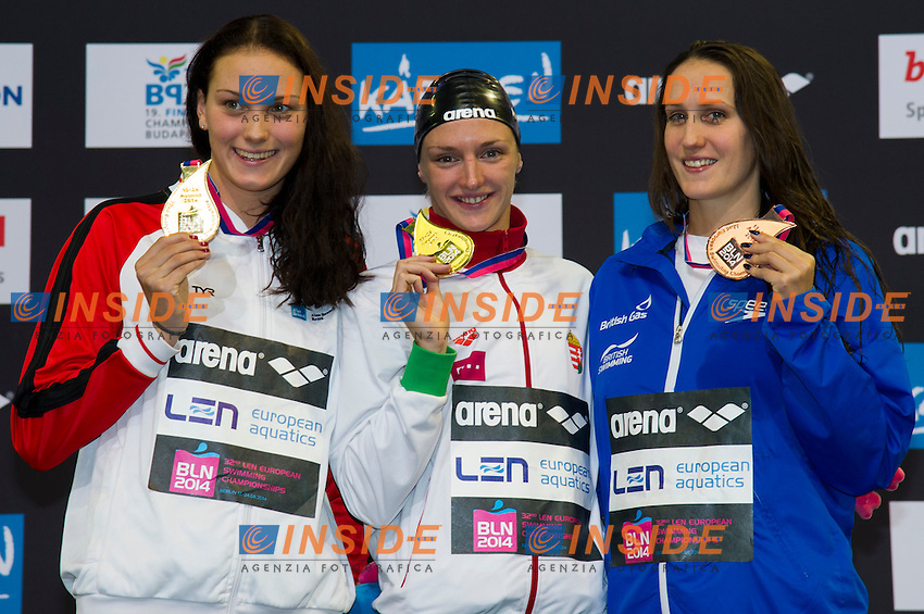 HOSSZU Katinka HUN  Gold Medal<br /> NIELSEN Mie Oe. DEN Gold Medal<br /> DAVIES Georgia GBR Bronze Medal<br /> 100m Backstroke Women Final<br /> 32nd LEN European Championships <br /> Berlin, Germany 2014  Aug.13 th - Aug. 24 th<br /> Day09 - Aug. 21<br /> Photo G. Scala/Deepbluemedia/Inside