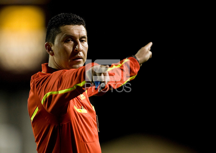 Referee Jorge Gonzalez in action during the game between Real Salt Lake and Earthquakes at Buck Shaw Stadium in Santa Clara, California on March 27th, 2010.   Real Salt Lake defeated San Jose Earthquakes, 3-0.