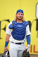 Garrett Hope (37) of the Rancho Cucamonga Quakes in the bullpen before a game against the Modesto Nuts at LoanMart Field on August 2, 2017 in Rancho Cucamonga, California. Modesto defeated Rancho Cucamonga, 10-5. (Larry Goren/Four Seam Images)