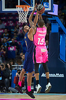 Estudiantes Sylven Landesberg and FC Barcelona Lassa Adam Hanga during Liga Endesa match between Estudiantes and FC Barcelona Lassa at Wizink Center in Madrid, Spain. October 22, 2017. (ALTERPHOTOS/Borja B.Hojas) /NortePhoto.com
