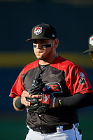 Erie SeaWolves Isaac Paredes (18) during warmups before an Eastern League game against the Altoona Curve on June 3, 2019 at UPMC Park in Erie, Pennsylvania.  Altoona defeated Erie 9-8.  (Mike Janes/Four Seam Images)