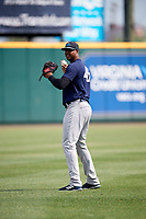 Trenton Thunder pitcher Domingo Acevedo (46) warms up in the outfield before a game against the Richmond Flying Squirrels on May 11, 2018 at The Diamond in Richmond, Virginia.  Richmond defeated Trenton 6-1.  (Mike Janes/Four Seam Images)