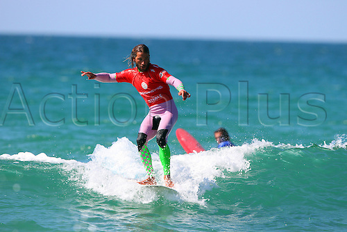 14.08.2016. Newquay, England. Board Masters Surfing Competition Sunday.  Emilien Fleury FRA is runner up in the Boardmasters Longboard championship