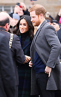 Prince Harry and Ms. Meghan Markle arrive at the Esplanade in front of the Edinburgh Castle in Edinburgh, on February 13, 2018, on their first official joint visit to Scotland Photo: Albert Nieboer / Netherlands OUT / Point De Vue Out Photo: Albert Nieboer/Royal Press Europe/RPE /MediaPunch ***FOR USA ONLY***
