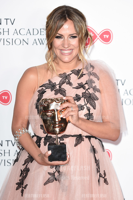 Caroline Flack in the winners room for the BAFTA TV Awards 2018 at the Royal Festival Hall, London, UK. <br /> 13 May  2018<br /> Picture: Steve Vas/Featureflash/SilverHub 0208 004 5359 sales@silverhubmedia.com