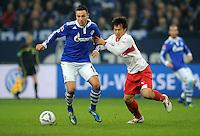 FUSSBALL   1. BUNDESLIGA   SAISON 2011/2012   18. SPIELTAG FC Schalke 04 - VfB Stuttgart            21.01.2012 Marco Hoeger (li, FC Schalke 04) gegen Shinji Okazaki (re, Stuttgart)