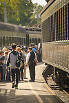 Essex, CT Steam Train excursion. Passenger cars and tourist customers.