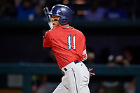 Jacksonville Jumbo Shrimp second baseman Isan Diaz (11) follows through on a swing during a game against the Biloxi Shuckers on June 8, 2018 at Baseball Grounds of Jacksonville in Jacksonville, Florida.  Biloxi defeated Jacksonville 5-3.  (Mike Janes/Four Seam Images)