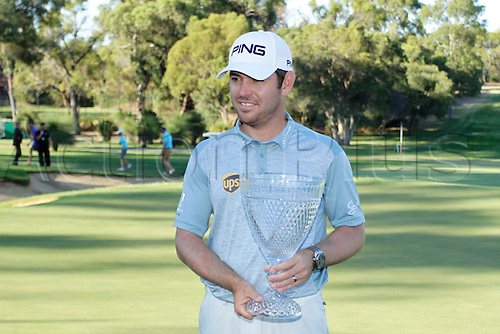 28.02.2016. Perth, Australia. ISPS HANDA Perth International Golf. Louis Oosthuizen winner of the tournament with the trophy.
