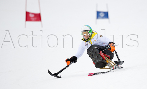 07.03.2014. Sochi, Russia.  Anna Schaffelhuber of Germany in action during an unofficial training session in Rosa Khutor Alpine Center at the Sochi 2014 Paralympic Winter Games, Krasnaya Polyana, Russia, 07 March 2014.