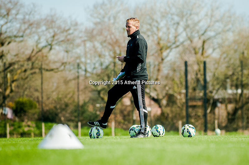 SWANSEA, WALES - APRIL 7 :  Manager of Swansea City, Garry Monk looks on during training on April 7, 2015 in Swansea, Wales. (photo by Athena Pictures)