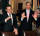 Washington, D.C. - March 30, 2010 -- President Nicolas Sarkozy of France visits United States Senator John F. Kerry (Democrat of Massachusetts), Chairman, U.S. Senate Foreign Relations Committee in the U.S. Capitol on Tuesday, March 30, 2010..Credit: Ron Sachs / CNP