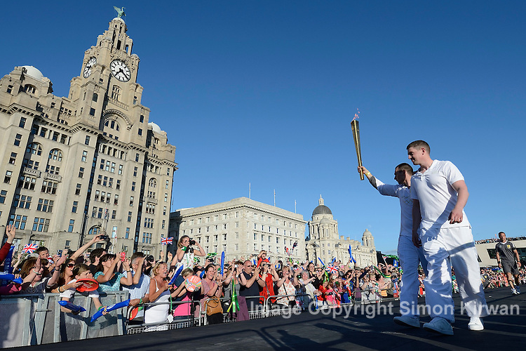 2012 Olympic Torch Relay Day 14 June 1st Liverpool, visiting Crosby, Birkenhead and Liverpool Pier Head, crossing the River Mersey by ferry