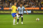 June 9th 2017, Melbourne Cricket Ground, Melbourne, Australia; International Football Friendly; Brazil versus Argentina; Filipe Luis Kasmirski of Brazil passes the ball forward