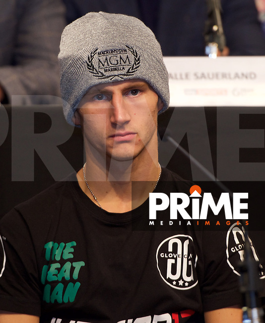 Tommy Martin during the final press conference ahead of the George Groves v Andrea Di Luisa fight set for Saturday 30th January 2016 at the Copper Box, at Stratford Circus, Theatre Square, England on 28 January 2016. Photo by Alan  Stanford/PRiME Media Images.