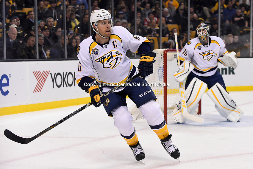 Monday, December 7, 2015: Nashville Predators defenseman Shea Weber (6) in game action during the National Hockey League game between the Nashville Predators and the Boston Bruins held at TD Garden, in Boston, Massachusetts. The Predators defeat the Bruins 3-2 in regulation time. Eric Canha/CSM