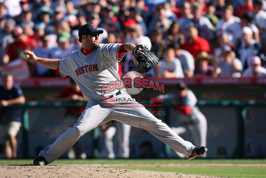 Eric Gagne of the Boston Red Sox during a game against the Los Angeles Angels in a 2007 MLB season game at Angel Stadium in Anaheim, California. (Larry Goren/Four Seam Images)