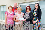 Hannah Moynihan, Killarney with family members Joanne Breen, James Moynihan presented a cheque to Catriona Locke and Eileen Regan of Pieta House Castleisland on Monday, money raised by donations instead of Flowers in memory of James Moynihan (senior)