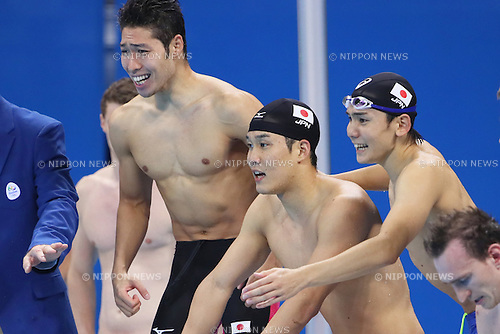(L-R) Kosuke Hagino, Yuki Kobori, Naito Ehara (JPN), <br /> AUGUST 9, 2016 - Swimming : <br /> Men's 4x200m Freestyle Relay Final <br /> at Olympic Aquatics Stadium <br /> during the Rio 2016 Olympic Games in Rio de Janeiro, Brazil. <br /> (Photo by Yohei Osada/AFLO SPORT)