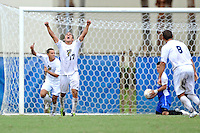2 October 2011:  FIU's Mario Uribe (17) reacts to an overtime goal by teammate Roberto De Sousa (20) as the FIU Golden Panthers defeated the University of Kentucky Wildcats, 1-0 in overtime, at University Park Stadium in Miami, Florida.