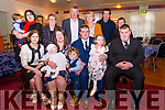 Morris / Kelliher Christening<br /> In The Manor Inn Killorglin on Saturday for Abbey Rose Kelliher's Christening<br /> Seated L-R Noreen Casey, Sarah Morris with baby Abbey Rose Kelliher, David McCarthy, Brendan Kelliher with Sophie Kelleher, Jason Morris.<br /> Cian & Siobhan McCarthy, Mary Kelliher, Brendan Morris, Sharon O'Sullivan, Gerry Brennan, Rose McCarthy.